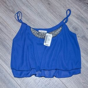 Denim Blue Crop Top with Beaded Detail